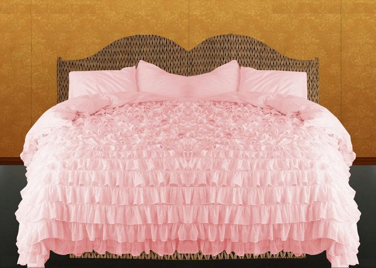 Pink Ruffle Duvet Cover Set 3pc Egyptian Cotton By