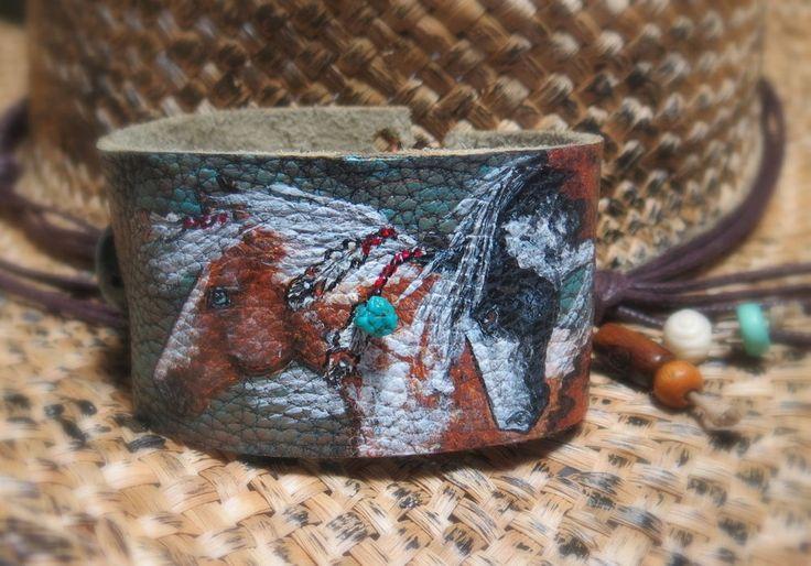 SALE painted original art jewelry native pinto paint horse leather bracelet wrap #BELLERAYNE
