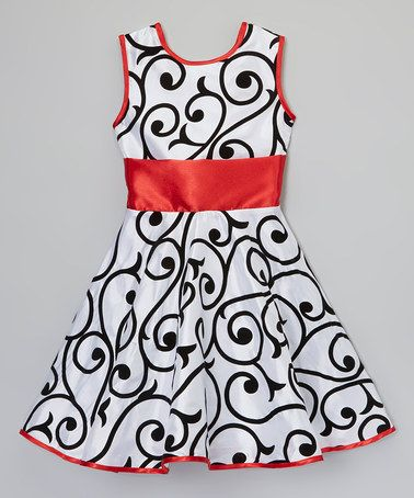 Love this Black & Red Vines Sash Dress - Infant, Toddler & Girls by Little Miss Fashion on #zulily! #zulilyfinds