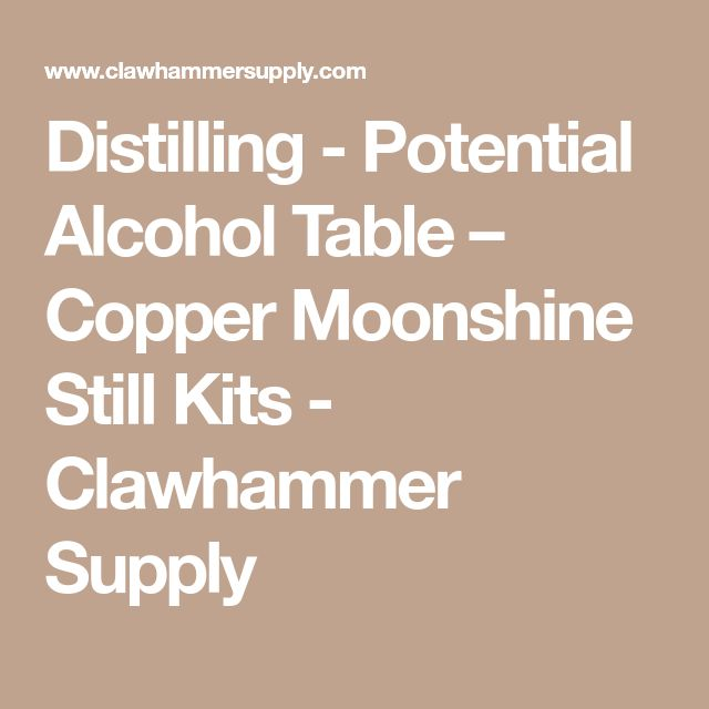 Distilling - Potential Alcohol Table – Copper Moonshine Still Kits - Clawhammer Supply