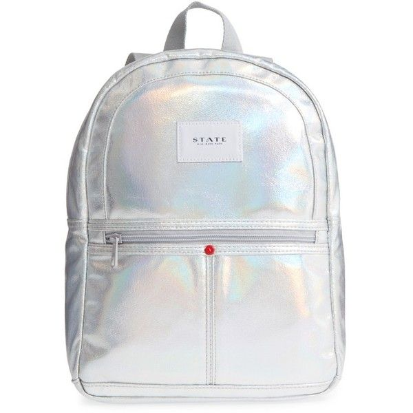 Women's State Bags Starrett City - Mini Kane Iridescent Backpack (82 805 LBP) ❤ liked on Polyvore featuring bags, backpacks, silver, day pack rucksack, silver backpacks, iridescent backpack, silver bag and backpack bags