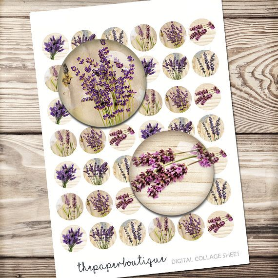 Lavender digital collage sheet, paper for jewelry making, provance feeling 10mm-30mm circles