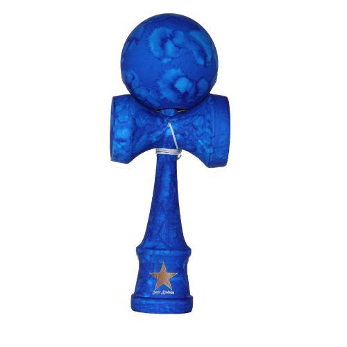 Full Marble Blue Rubberized Super Kendama, Super Sticky, Japanese Wooden Toy, Free String, USA Seller