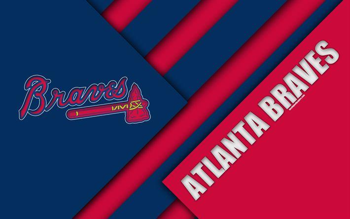 Download wallpapers Atlanta Braves, MLB, 4K, red blue abstraction, logo, material design, baseball, Atlanta, USA, Major League Baseball