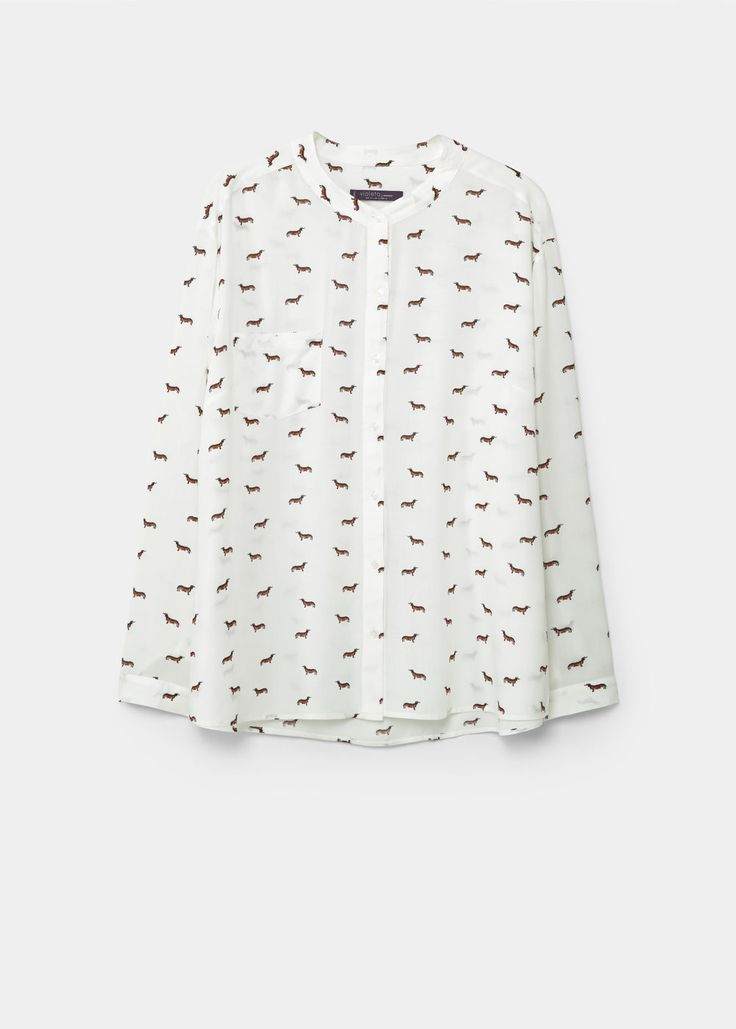 Blusa fluida stampata - Camicie Taglie grandi | Violeta by MANGO Italia