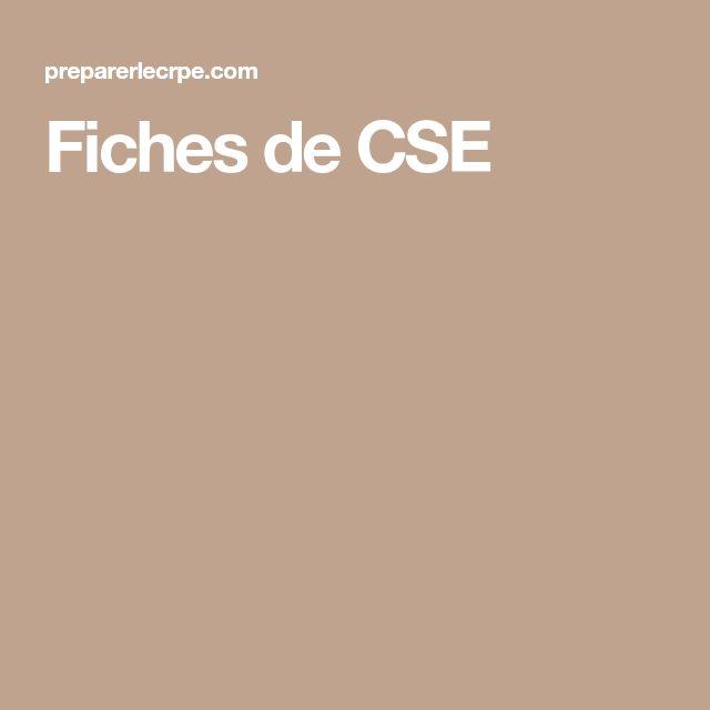 Fiches de CSE