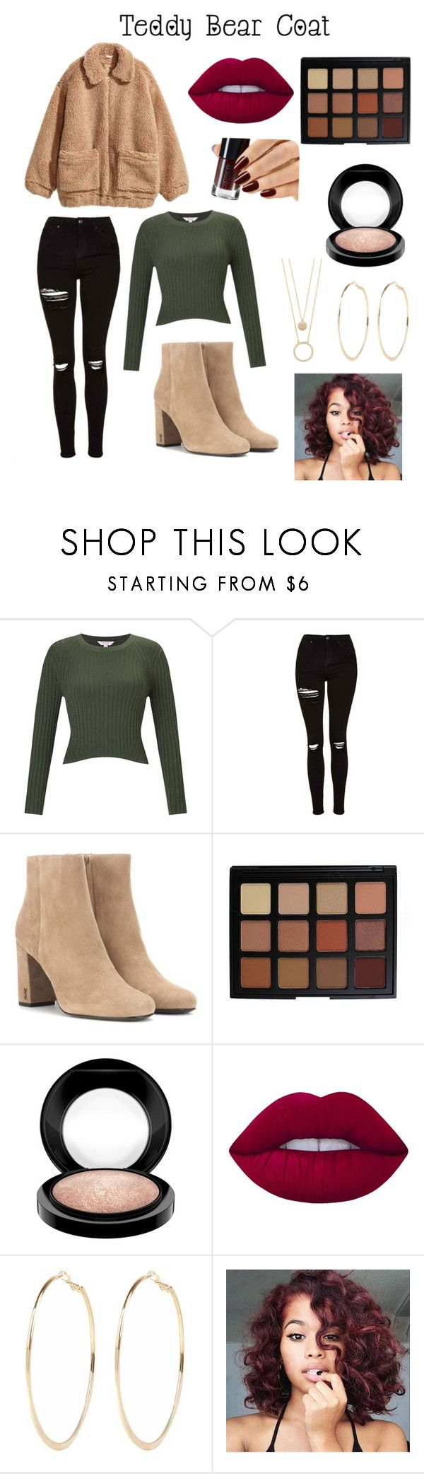 """""""Teddy Bear Coat Contest"""" by babygirl565001 ❤ liked on Polyvore featuring Miss Selfridge, H&M, Topshop, Yves Saint Laurent, Morphe, MAC Cosmetics, Lime Crime, River Island, Kate Spade and cute"""