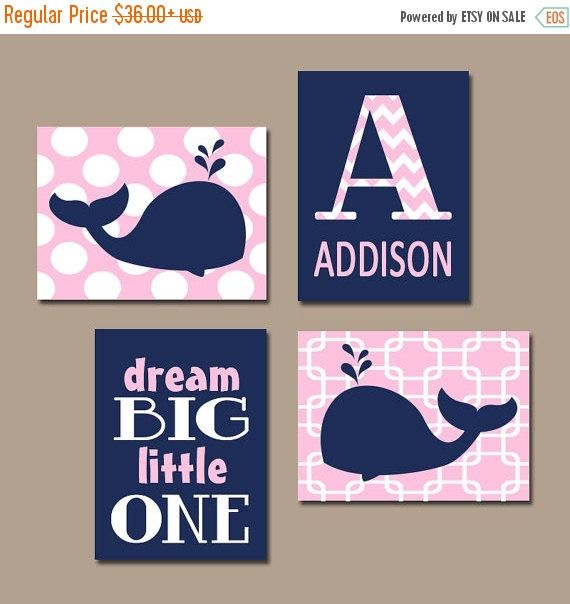Girl WHALE Nautical Wall Art, Canvas or Prints Baby Girl Nursery Wall Art, Nautical Nursery Girl Bedroom Girl Wall Art, Set of 4 Crib Decor