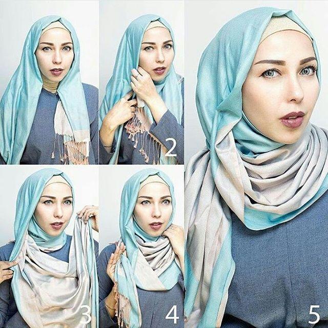 Hijab tutorial by @vivithalib21 Bisa banget nih dijadikan salah satu referensi gaya berhijab untuk lebaran nanti  Material: phasmina 1. Bagian kiri lebih pendek dr kanan 2. Bag kiri di bawa ke kanan dan penitikan 3. Bagian kanan di bawa ke kiri dan putar ke belakang Selesai  #everydayhijabtutorials
