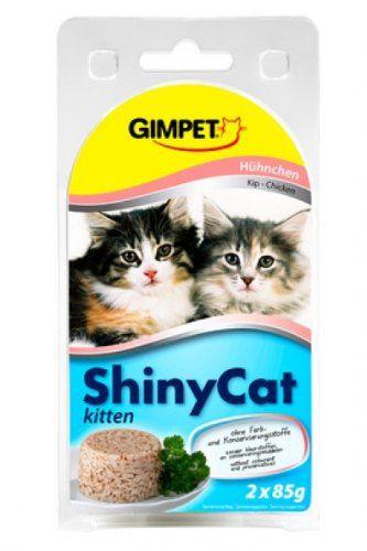 Aus der Kategorie Nassfutter  gibt es, zum Preis von EUR 2,19  Diese Packung enthält zwei köstliche Mahlzeiten für Ihre Katze.<br>ShinyCat Kitten hat ein ausgewogenes Calcium-Phosphor-Verhältnis und ist besonders klein geschnitten für Kätzchen ab der 8. Woche.<br>Ergänzungsfuttermittel für junge Katzen.<br><br>Nährwerte-Tabelle<br>Analytische Bestandteile<br>Protein 13,0 %<br>Fettgehalt 2,0 %<br>Rohasche 2,0 %<br>Rohfaser 1,0 %<br>Feuchtigkeit 85,0 %<br>Calcium 0,2 %<br>Phosphor 0,1…