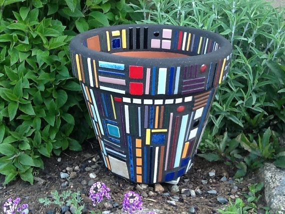 Mosaic Flower Pot Frank Lloyd Wright Inspired by MosaicsByJoan