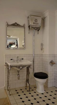 high cistern toilet in modern bathroom - Google Search