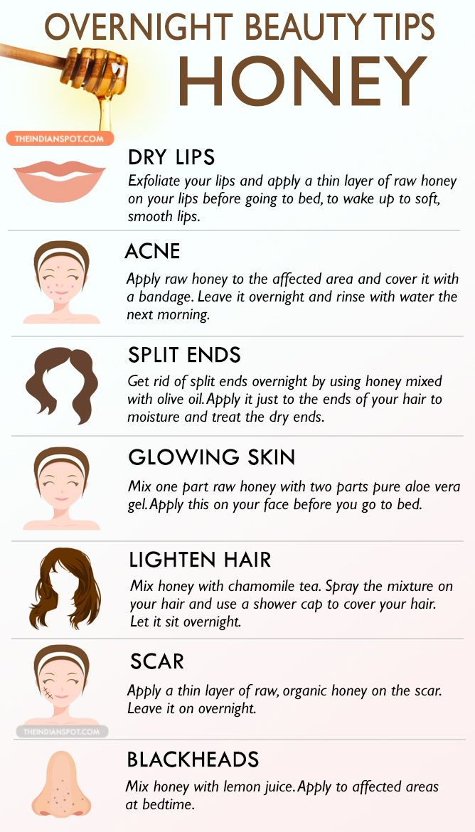Honey can be used in many different ways to treat your skin and hair, so here are few ways to use honey in an overnight beauty treatment. Use honey in your b...