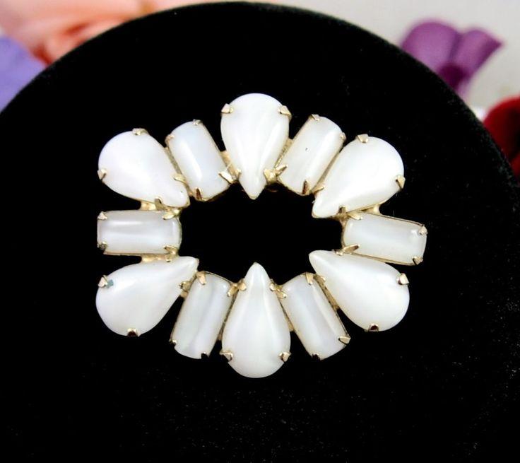 OTHERWORLDLY OVAL Vintage BROOCH Milk White MOONSTONE Sheen Rhinestones  PIN   | eBay