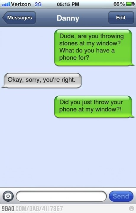 throwing things: Blondes Moments, Throw Stones, Funny Text Messages, Blondes Jokes, Too Funny, Funny Stuff, Funny Texts Messages, So Funny, Phones