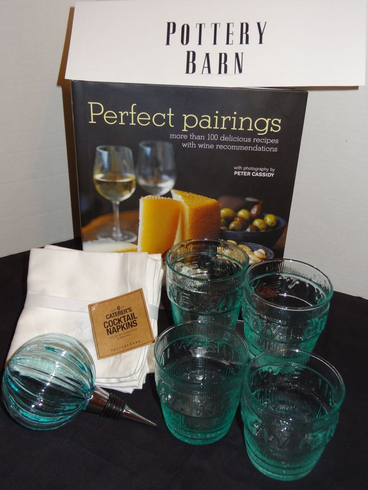 The POTTERY BARN donated wine glasses, linen napkins, a wine stopper, and a cookbook with 100 recipes and wine pairings. $85