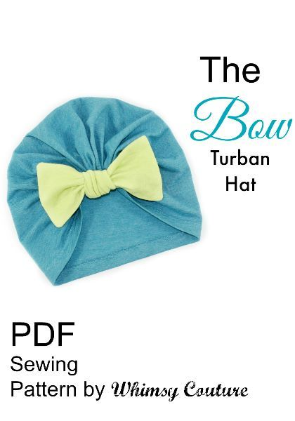 Sew this cute bow turban hat pattern for babies, kids and adults. Makes a great cancer cap too! Download this sewing pattern today.