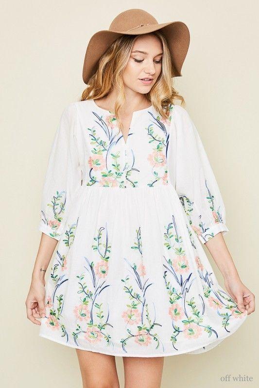 7076d965bcc womens white floral Boho babydoll hippie cotton mini dress S M L  hayden   EmpireWaist  casual