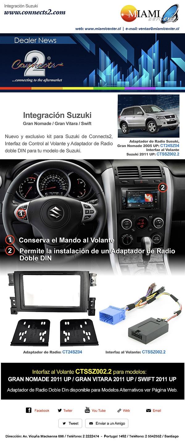 Integración SUZUKI  http://www.miamicenter.cl/suzuki/radio-suzuki-grand-nomade.html