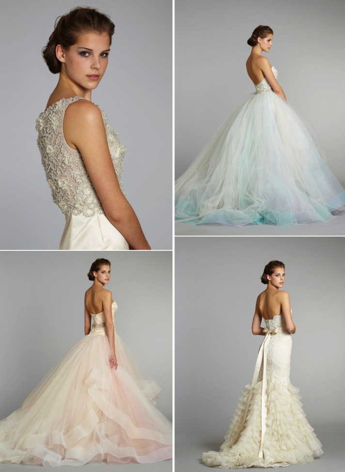 fall 2012 wedding dresses Lazaro bridal gowns 2 (I like the subtle blue skirts - top right, and the pretty wide-hem pink skirt - bottom left)