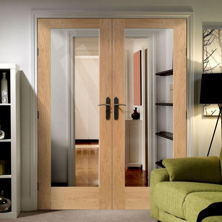 Simpli Double Door Set, Patt 10 Oak Door - Clear Safe Glass - Prefinished.  'doubledoorsetkit #internaldoorsetpair #simplidoorsetkitdouble