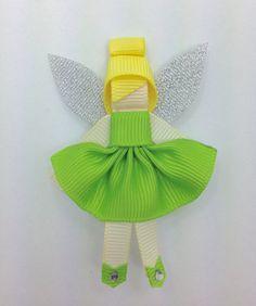 TInkerbell Fairy Hair Clip Ribbon Sculpture