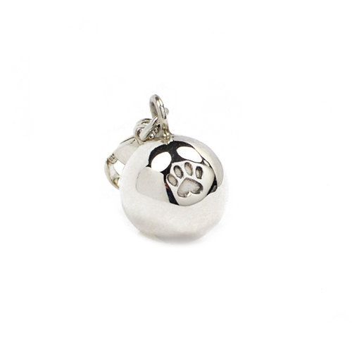 Lovely handmade silver charm in form of a ball with a heart shaped paw print in it, with a carabiner. Fits perfectly alone or along with other charms on a bracelet.  Size: ~10 mm  Part of the income goes directly to selected shelters for homeless cats.