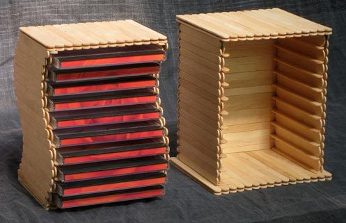 Popsicle Stick Crafts for Adults   Popsicle stick CD rack   DIY family