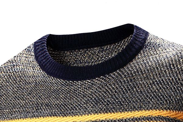 Mens Fashion Casual Stripe O-neck Collar Sweater Spell Color Pullover Knitted Sweater