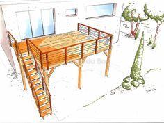 Terrasse bois suspendue sur pilotis et balcons bois à Angers - Artisan construction - Menuisier Maine et Loire
