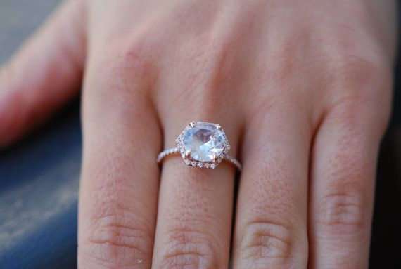 Hexagon Engagement Ring. White Sapphire Ring. 14k Rose Gold 2.57ct Round sapphire engagement ring by Eidelpresious