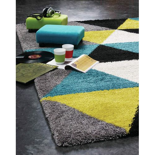 Delgadillo Triangles Area Rug Teal Lime Green Gray