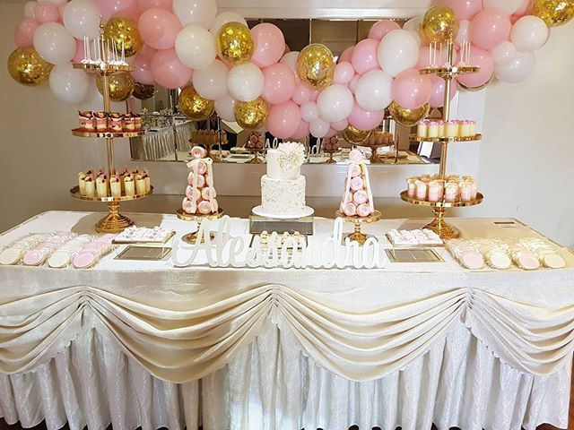 """""""•°•ALESSANDRA'S CHRISTENING•°• Perfect setup for any princess Props @melbourne.diy.party.hire Towers, oreo pyramids, cups and cake pops @aynets.cookies.n.treats Cake @frangipani_annie Chocolate bars @sweeteve1 Balloons @boutique_balloons_Melbourne #christening #princess #porphire #desserts #cakes #foodlover #melbourneevents #melbourneweddings #melbournepartystylist #melbournecaffes #events #kids #birthdayfun #hireusforyournextevent #hire #foodporn #gold #style #partyplanner"""" by…"""