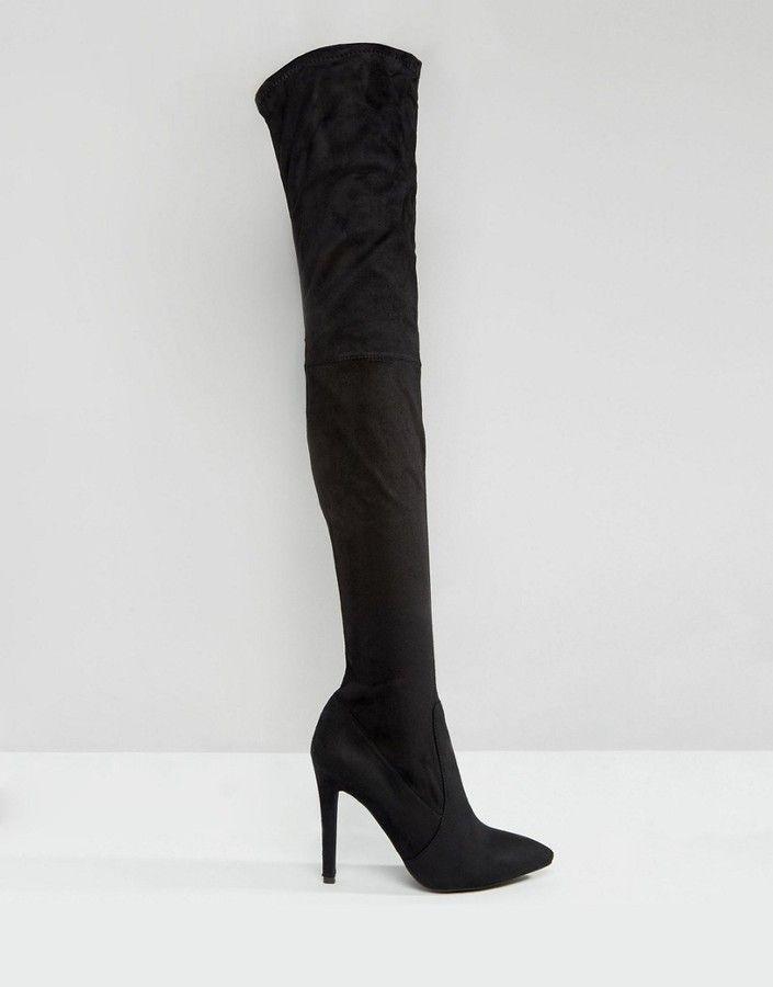 Public Desire Alexus Point Heeled Thigh High Boots