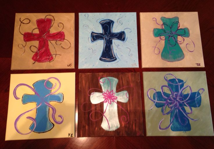 Canvas and wine night. Cross paintings. It was a blast! Just choose a simple design, get some cheap canvases and acrylic paint. You can do it at home; just invite the gals over!