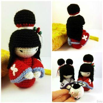 Amigurumi japanese doll Red Kimono by SuniMam