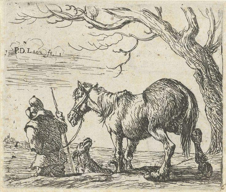 Pieter Bodding van Laer | Boer met paard, Pieter Bodding van Laer, 1609 - 1642 | Een boer leidt zijn paard, in het midden een blaffende hond. De prent maakt deel uit van een zesdelige serie met voorstellingen van paarden.
