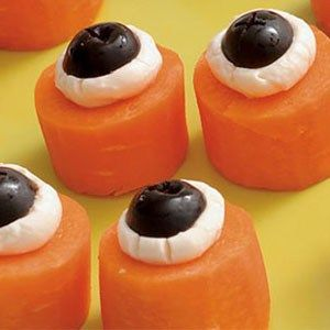 carrot eyes- carrots, cream cheese, grapes etc