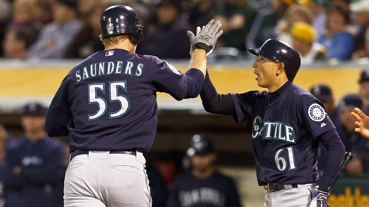 Seven different #Mariners drive in runs before Brandon League slams the door in an 8-7 victory over the A's. 4/7/12