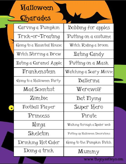 Halloween Charades: We played this Halloween Game at my son's class Halloween party last year and it was a huge hit! The kids couldn't stop laughing! Free Printable Halloween Game