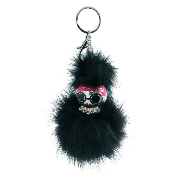Women's Keyring Pom Pom with Face - Silver/black