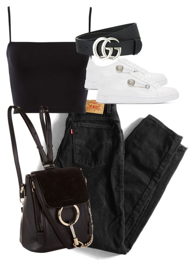 """""""Untitled #4446"""" by theeuropeancloset ❤ liked on Polyvore featuring Levi's, Gucci and Versus"""