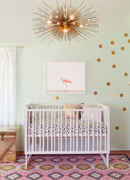 "Mint, gold, bold prints with mid century modern accents. via The Animal Print Shop by Sharon Montrose ""Girl Nursery."""