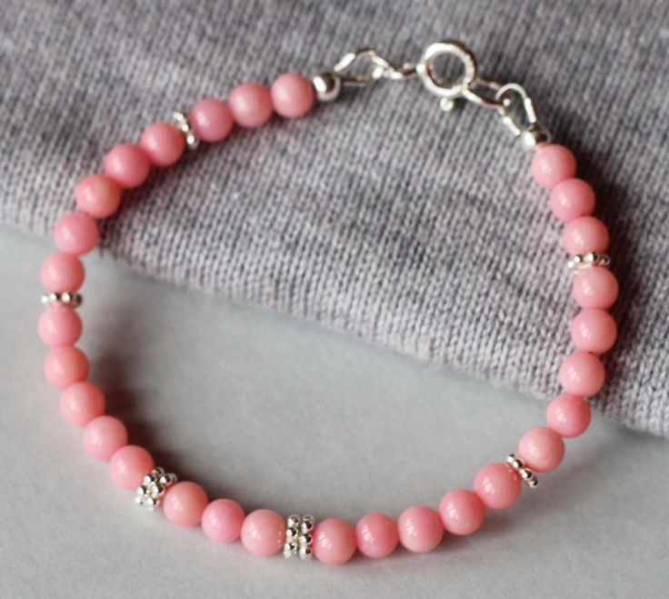 Pink Coral Gemstones with Sterling Silver Beads Girl's Bracelet by ILgemstones on Etsy