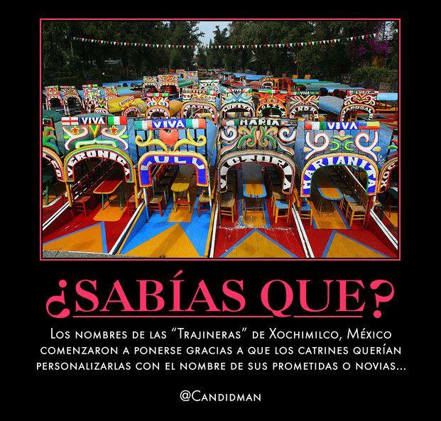 #Curiosidades Los nombres de las #Trajineras de #Xochimilco, #Mexico comenzaron a ponerse gracias a que los #Catrines querían personalizarlas con el nombre de sus prometidas o novias...  @Candidman