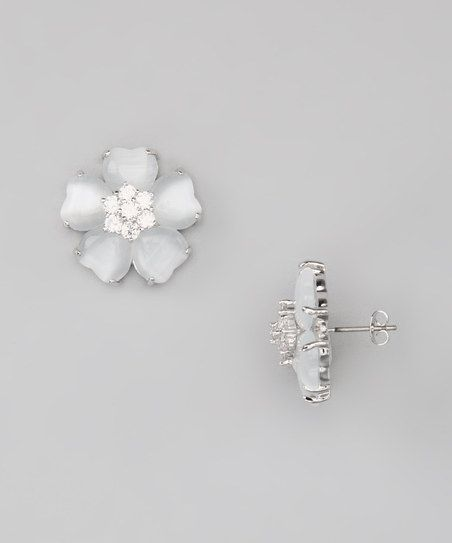 Jewelry Diamond : Silver & White Flower Stud Earrings