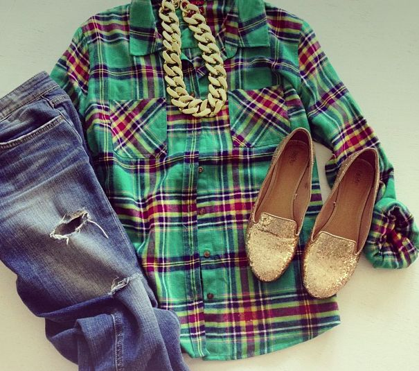 Bf light jean,flannel shirt, sparkle flats and gold necklace