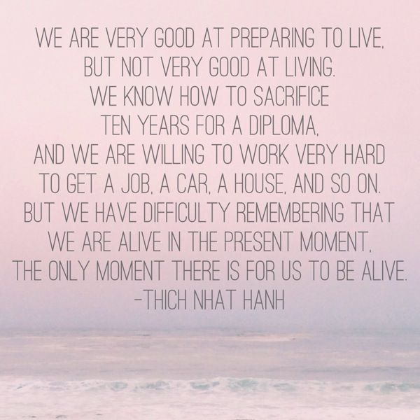 """""""We are very good at preparing to live, but not very good at living. We know how to sacrifice ten years for a diploma. And we are willing to work very hard to get a job, a car, a house, and so on. But we have difficulty remembering that we are alive in the present moment. The only moment there is for us to be alive."""" - Thich Nhat Hanh"""