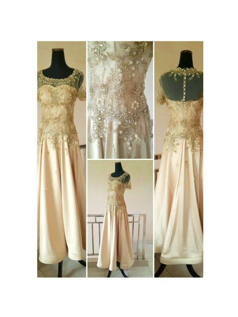 Gold long dress for bride's Mom