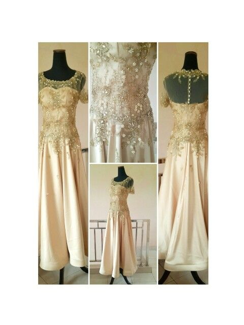 Gold long dress for bride's Mom